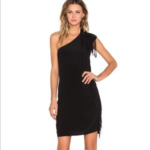 NWT IKKS ROBE ONE SHOULDER DRESS IN NOIR